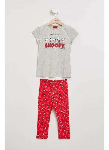 DeFacto Snoopy Lisanslı Pijama Takımı Gri